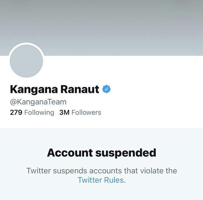 kangana ranauts suspended twitter account